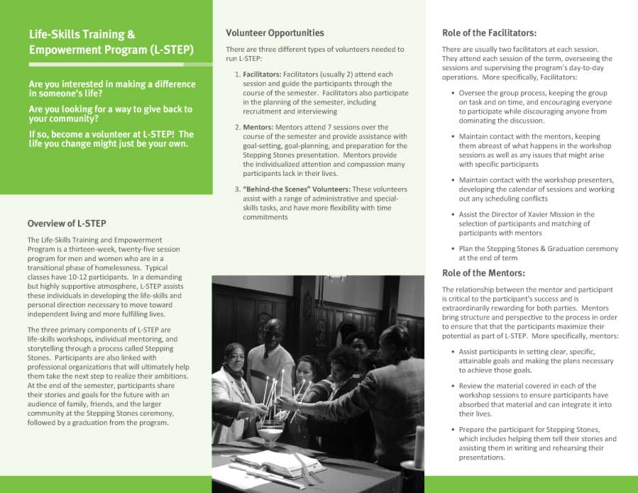 Xavier Mission Life Skills and Empowerment Brochure Design Inside View