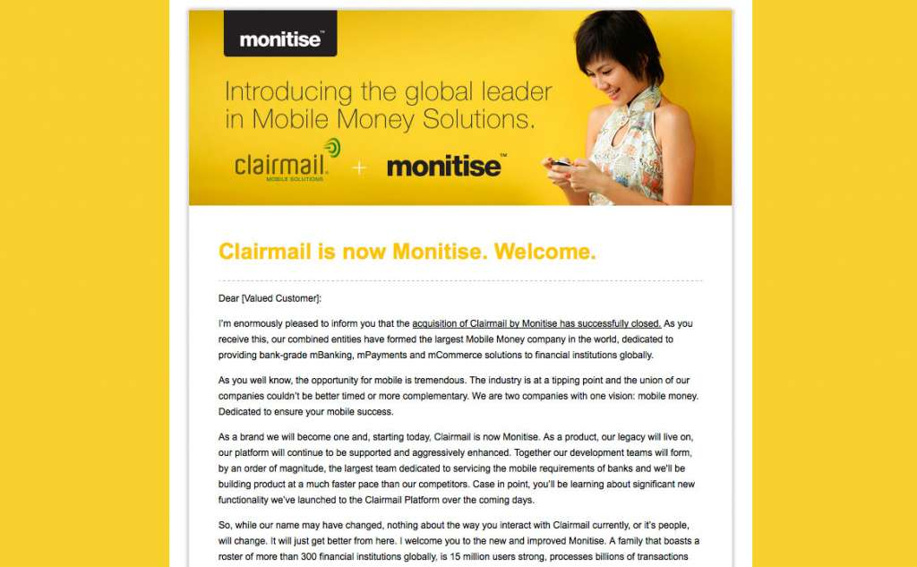 Monitise Email Newsletter